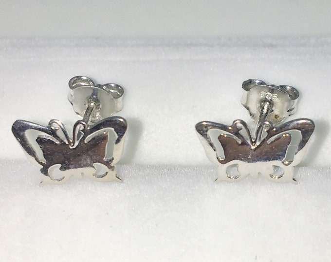 New White Gold on 925 Solid Sterling Silver Butterfly shaped Small Studs Earrings ( 10 . 5  mm )