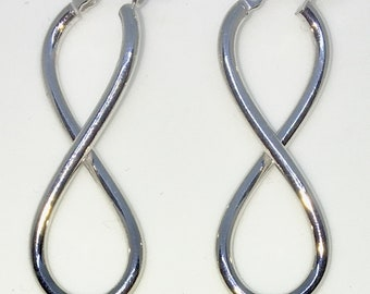 Brand New White Gold on 925 Solid Sterling Silver Plain Smooth Infinity 8 Hoop earrings ( 12 . 8  mm )