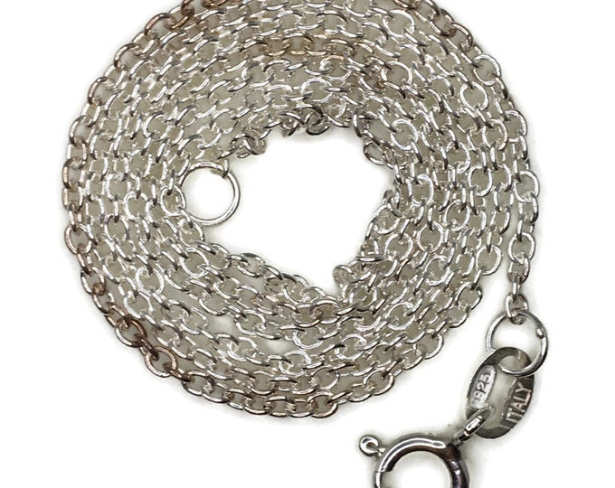 thin small cable chain 16 inch anti-tarnish silver necklace