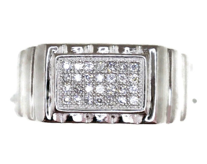 Cubic Zirconia ring small rectangle white gold on Silver ( size 9 )