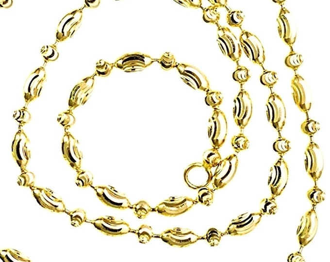 """14K Yellow Gold layered on 925 Silver diamond cut Moon Oval Chain / Necklace - 2mm 18"""""""