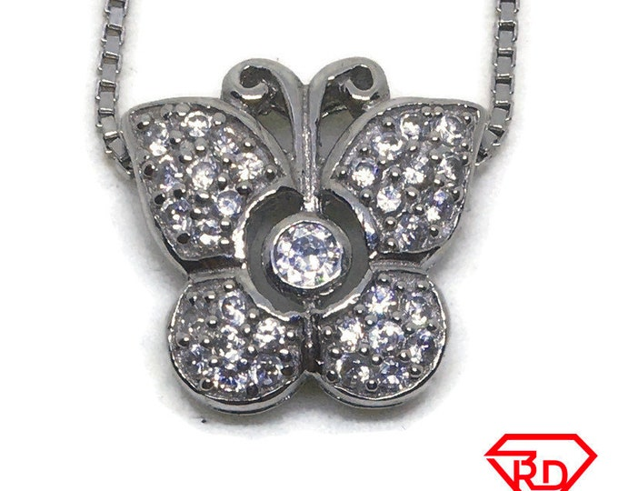 Small Butterfly CZ charm Pendant White Gold layer