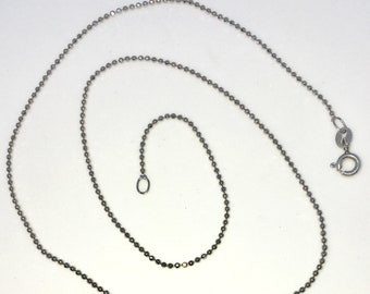 Brand New White Gold on 925 Solid Sterling Silver 16 inch Plain Bead Chain Necklace with Lobster Claw Clasp