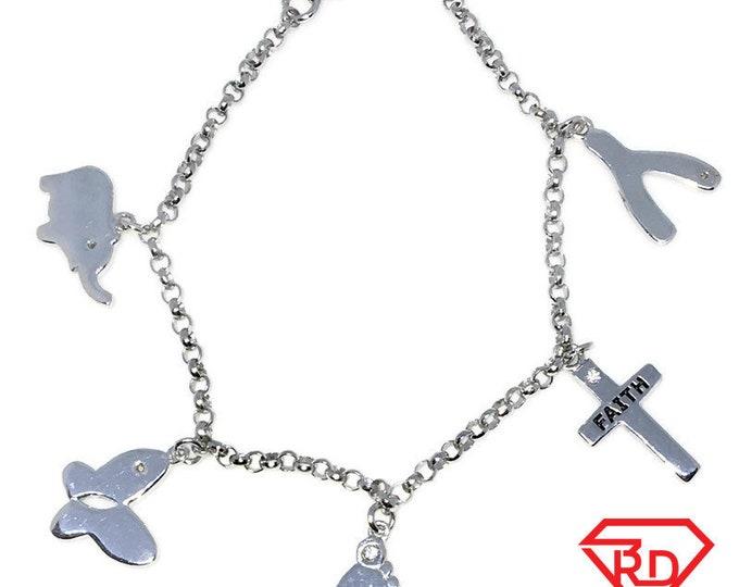 New White Gold Layered 925 Solid Sterling Silver 7 inch Multiple shapes baby Bracelet with Lobsterclaw clasp
