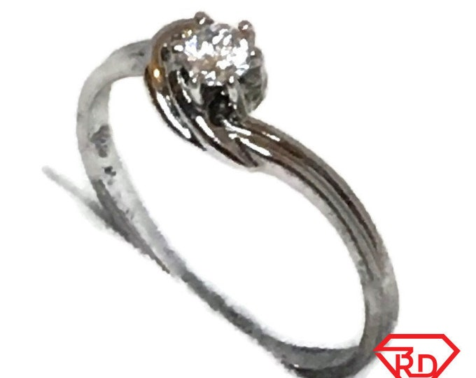 Brand New White Gold on 925 Sterling Silver Teen Ring Band six prong basket roun white CZ ( size 6 )