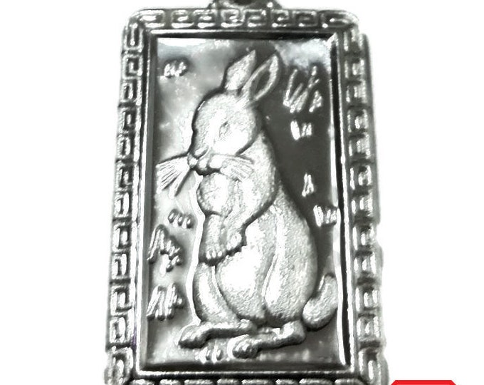 Chinese zodiac horoscope 999 fine silver rectangle year of rabbit pendant charm