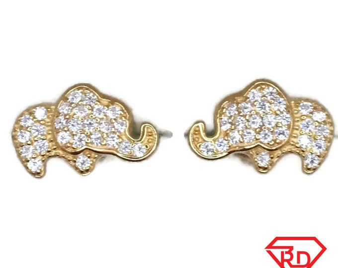 Brand New Yellow gold on 925 Silver Studs Earrings Small Elephant with round white CZ ( 11 . 8 mm )