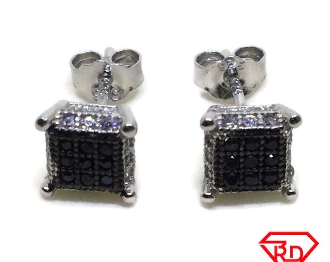 Tiny Square black & White CZ stud Earrings white gold layer