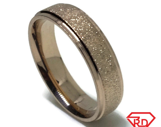 5 . 9 mm Brand New Yellow Gold Plated with Gold Sand Blast on Stainless Steel ring band