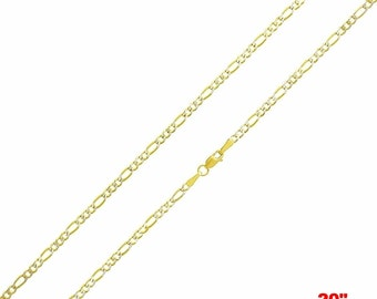 "Italian diamond cut 14k white & yellow gold layered over 925 silver Figaro Chain- 3mm-20"""