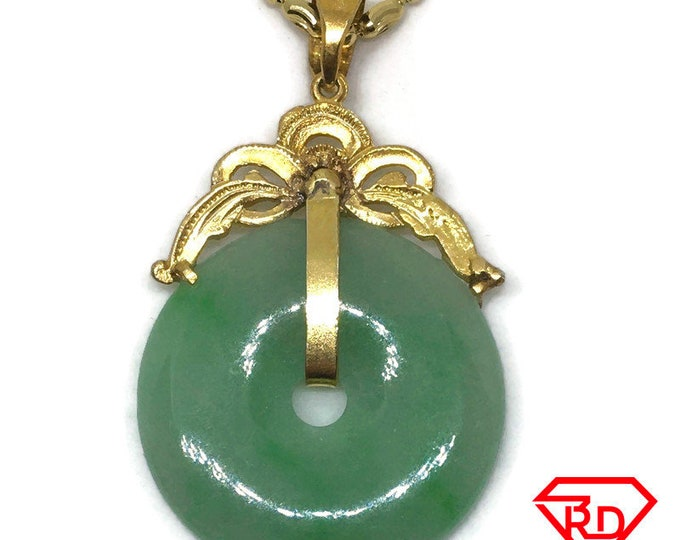 Large Halo green Jade Pendant Charm 24K Yellow gold Plated