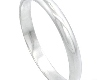 Italy 14k white gold layered on .925 silver high polished wedding band ring 2.8mm Size 10