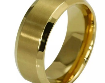 8mm Size14 Yellow Gold plated on Stainless Steel wide unisex Ring Band