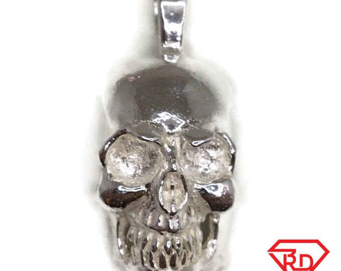 Handcraft large skull charm pendant white gold on silver
