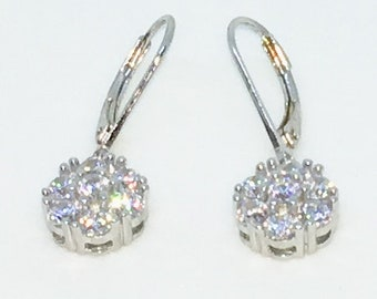 14k White Gold Layered Round Flower Shaped CZ on 925 Solid Sterling Silver Dangle Drop Earrings ( 9 . 4 mm )