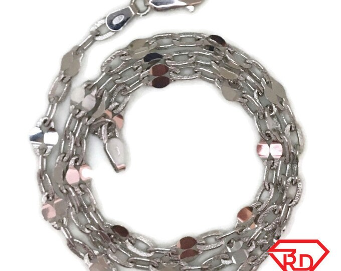 White gold layer on silver necklace unique oval chain 18 inch