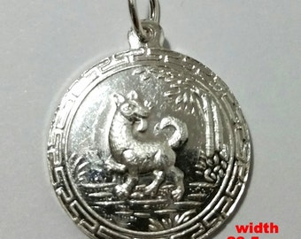 Chinese Zodiac Horoscope 999 fine Silver Round Year of Dog Pendant charm