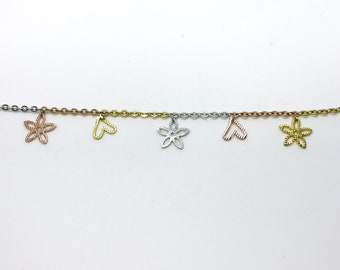 NEW Rose, Yellow, White Gold Layered on Sterling Silver Heart and Flower Bracelet - 8""