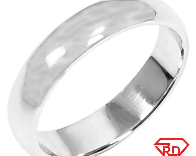 5 . 6mm Size 9 . 75 - Handmade solid 990 Silver high polished glossy plain wedding Ring Band