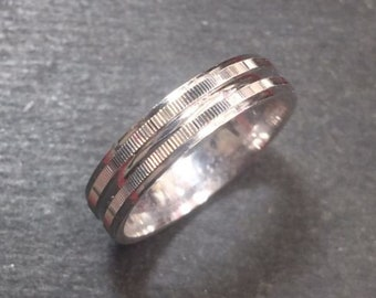 New 14k white gold layer on silver handmade wedding fancy cut ring band 4.0mm s6