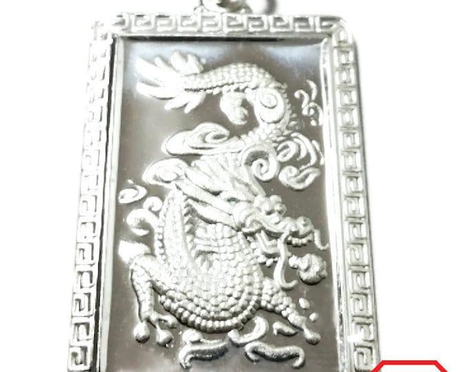 Chinese Zodiac Horoscope 999 fine Silver Rectangle Year of Dragon Pendant charm