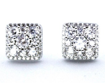 Stylish 14K White Gold on Silver Square Earrings