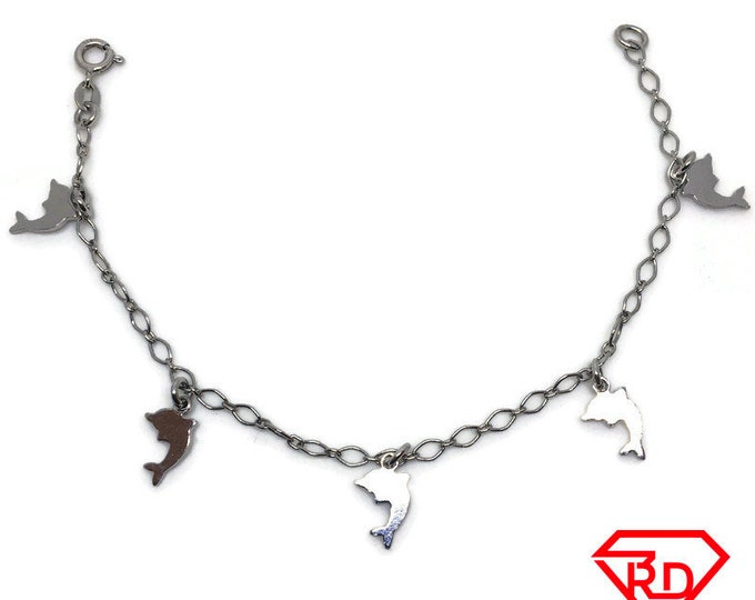 Dolphin charm Bracelet 8 inch Marquis chain White gold Layer