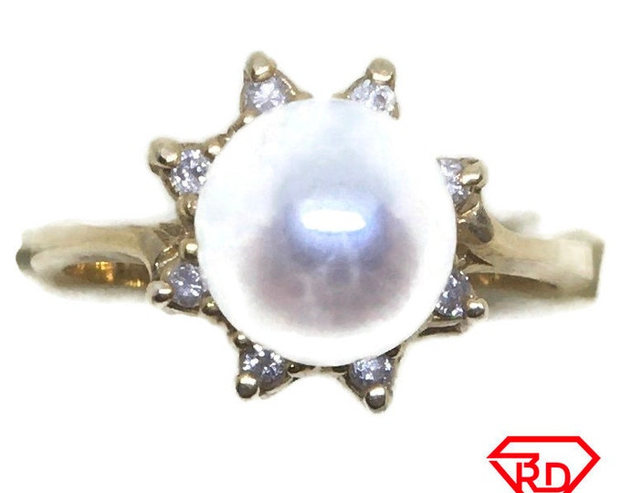 Star Flower Diamond pearl ring 14k yellow gold S6