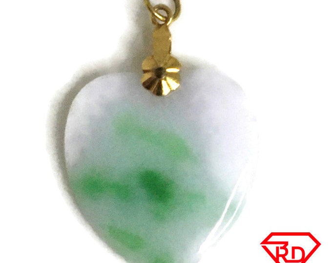 Smooth Heart Asian Jade on 14k Solid Yellow gold Pendant Charm