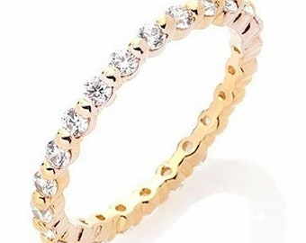 14k y gold layer on silver wedding 0.75ct cz stackable eternity ring band size 7