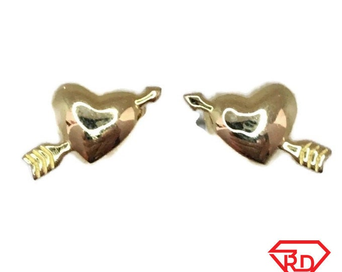 Brand New Yellow gold on 925 Silver Studs Earrings Small arrow piercing Heart ( 13 . 0 mm )