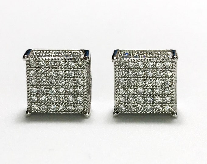 NEW 14K White Gold Layered on 925 Sterling Silver Cube-Shaped With Stones - Stud Earrings