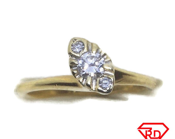 Tiny Diamond pinky ring 14k Yellow gold S4
