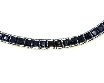 New White Gold Layered 925 Solid Sterling Silver 7 inch Bezel Princess Black CZ Tennis Bracelet with Box Clasp