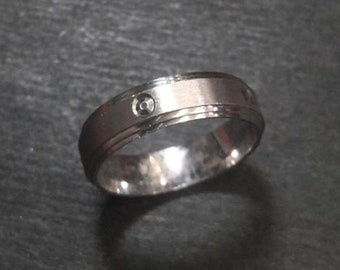 New 14k white gold layer on sterling silver wedding edge cut ring band 4.8mm s6