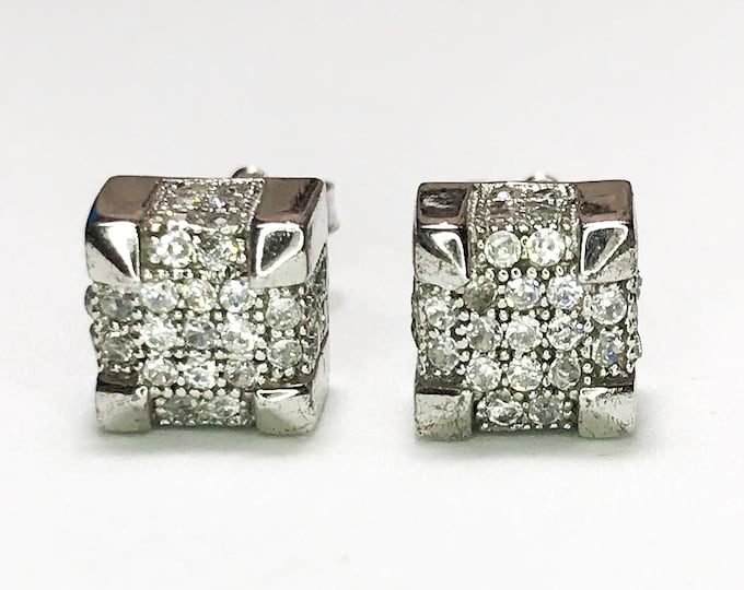 NEW Layered 14K White Gold on 925 Sterling Silver Cube with Stones Stud Earrings