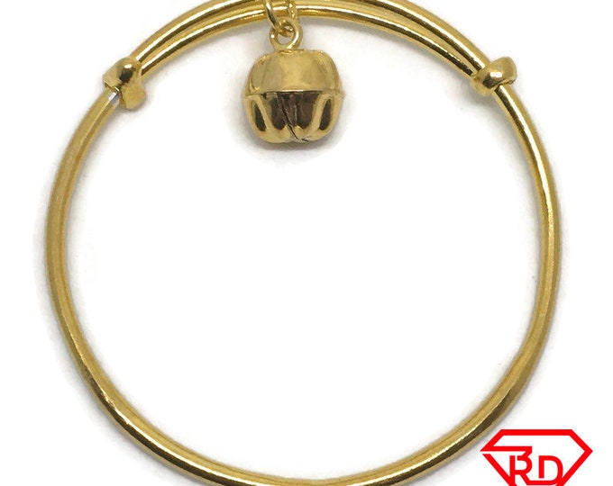 Bell charm slip in Baby Bangle Bracelet .999 Yellow Gold Layer