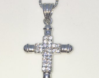 New White Gold on 925 Sterling Silver Pendant Small Cross with round white CZ with 16 inch Silver Chain ( 17 . 8 mm )