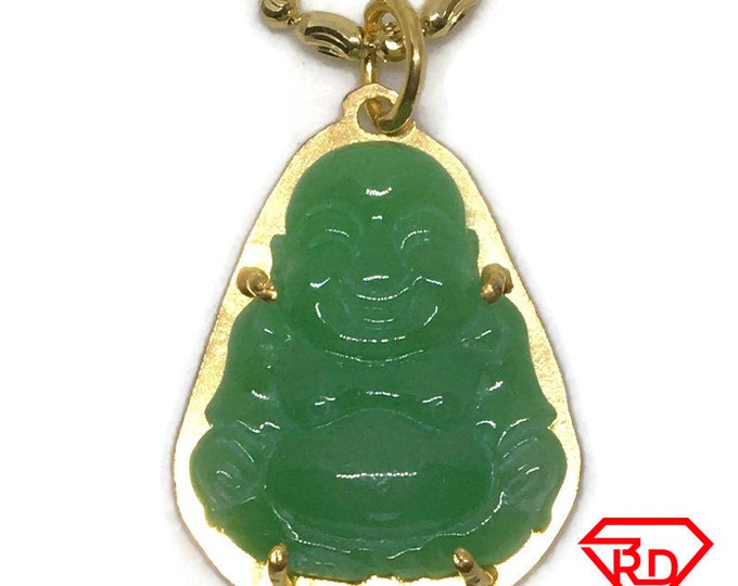Budai Buddha dark green Jade Pendant 24K Yellow gold Plated