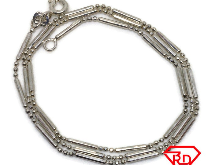 Thin beads and bar Chain 16 inch Necklace 925 Solid Silver