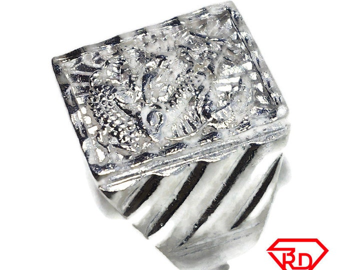 Square Dragon men ring band 925 Solid silver S9