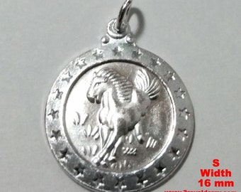 Small Chinese Zodiac Horoscope 999 fine Silver Round Year of Horse Pendant charm