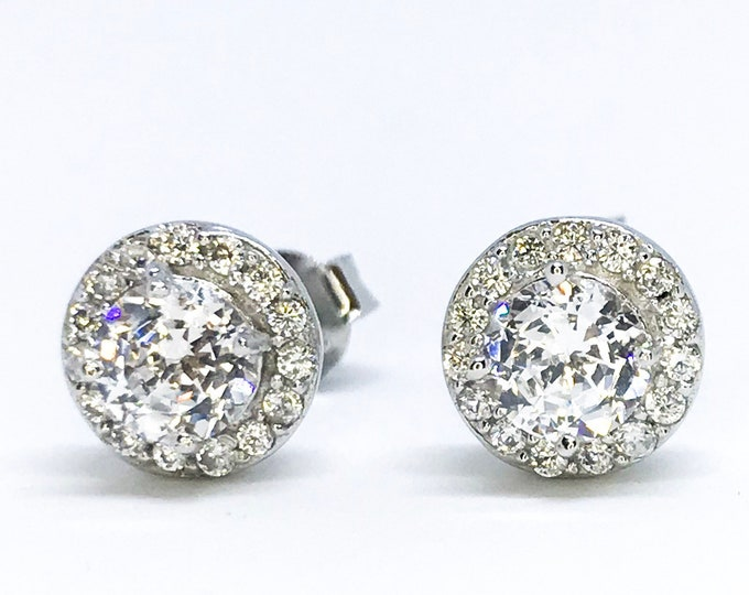 NEW 14K White Gold Layered on Sterling Silver Halo Stones Earrings