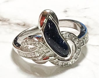 NEW 14K White Gold Layered on Sterling Silver Infinity with Black Shiny Stone Ring