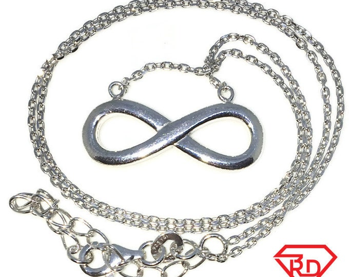 New White Gold Layered 925 Solid Sterling Silver 16 inch Infinity & Diamond Cut Cable Chain Necklace with Lobsterclaw clasp and extension