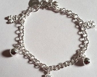 Baby teddy bears & ball bell dangling 925 sterling silver charms girls bracelet