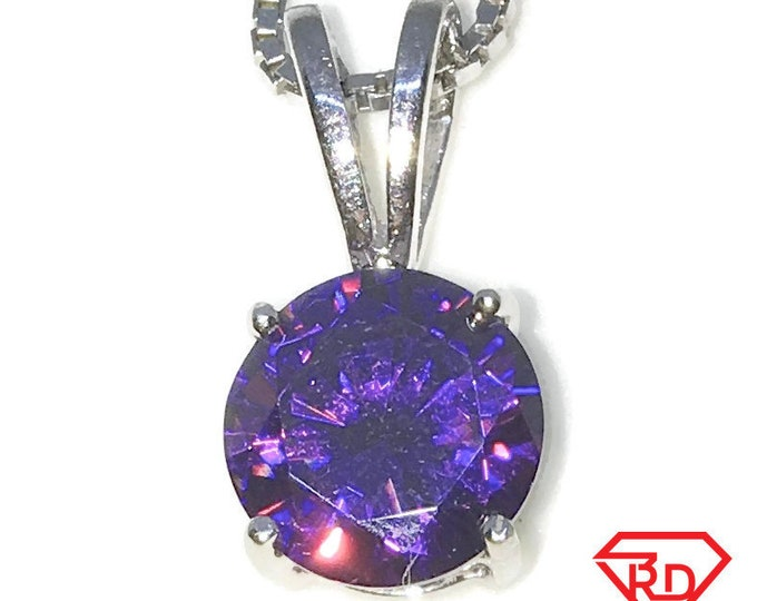New White Gold on 925 Sterling Silver Pendant Medium Four Prong Basket Birthstone with round Purple CZ and Silver 16 Inch Chain ( 8 . 8 mm )