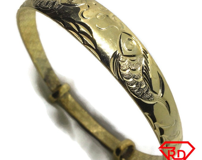 Diamond cut Fish slip in Bangle 999 Yellow Gold Layer
