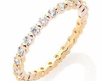 14k y gold layer on silver wedding 0.75ct cz stackable eternity ring band size 8