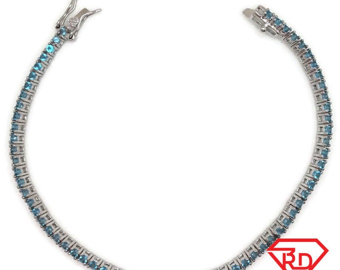 New White Gold Layered Tennis Bracelet four prong basket round light blue CZ